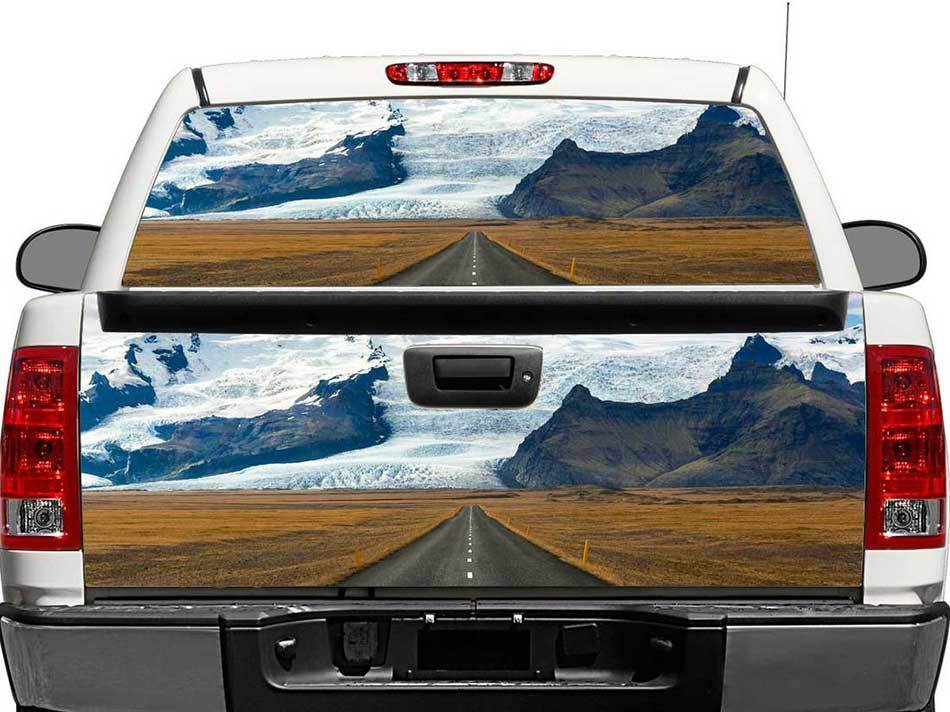 Road To The Mountains Rear Window OR tailgate Decal Sticker Pick-up Truck SUV Car
