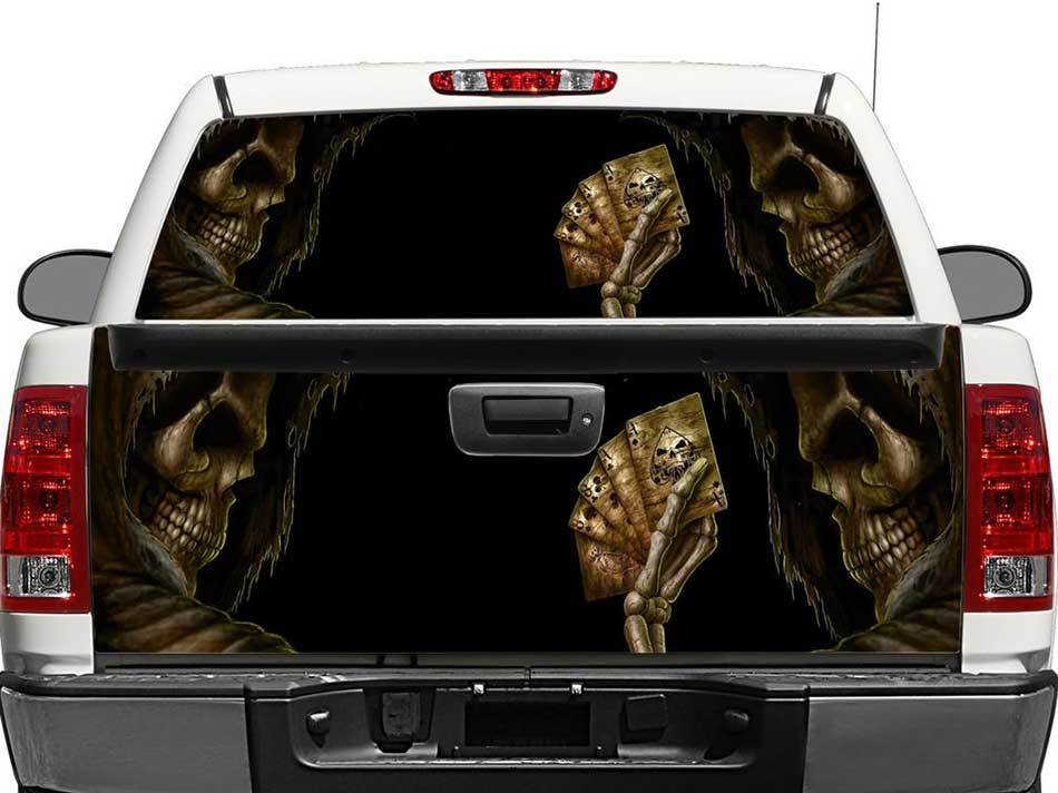 Skull Devil Dead Man's Hand Rear Window OR tailgate Decal Sticker Pick-up Truck SUV Car