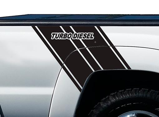 Turbo Diesel Truck Bed Stripes Vinyl Grafik Aufkleber