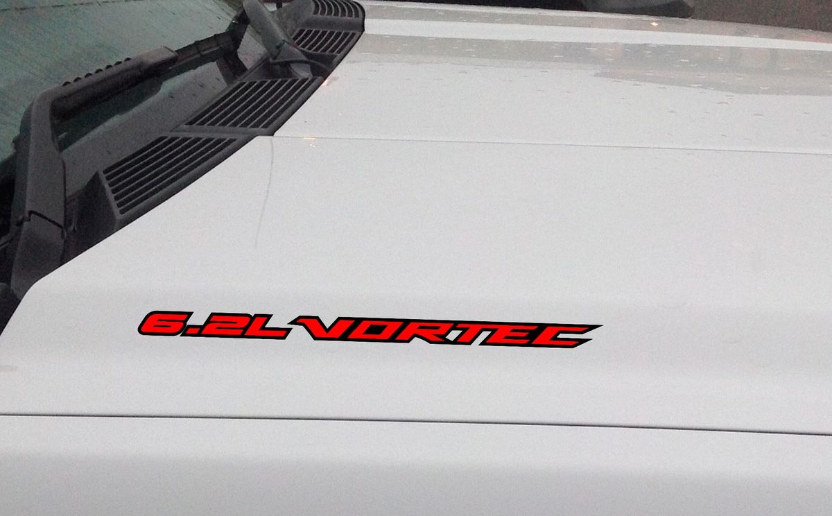 6.2L VORTEC Hood Vinyl Decal Sticker: Chevrolet Silverado GMC Sierra (Outlined)