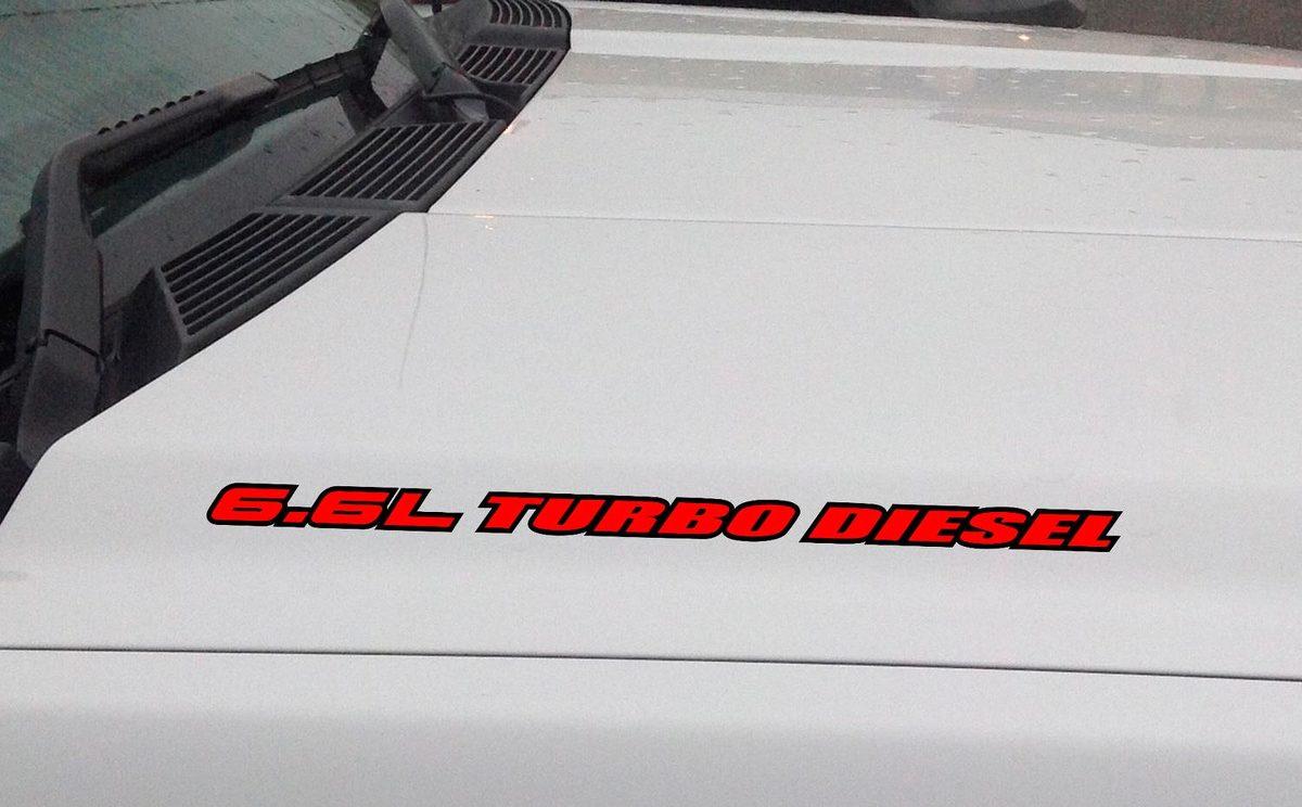 6.6L TURBO DIESEL Motorhaube Vinyl Aufkleber Aufkleber passt: Chevrolet GMC Duramax (Gliederung)