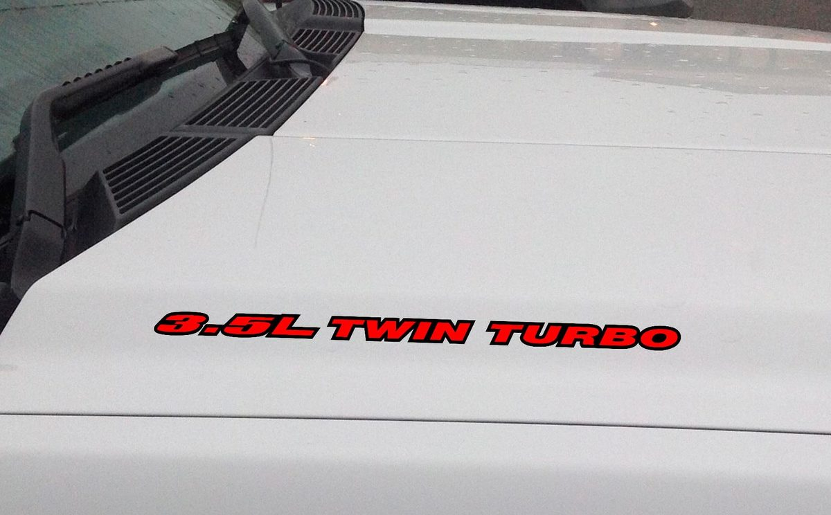 3.5L TWIN TURBO Hood Vinyl Decal Sticker: Ford F150 Mustang EcoBoost V6 (Outlin)