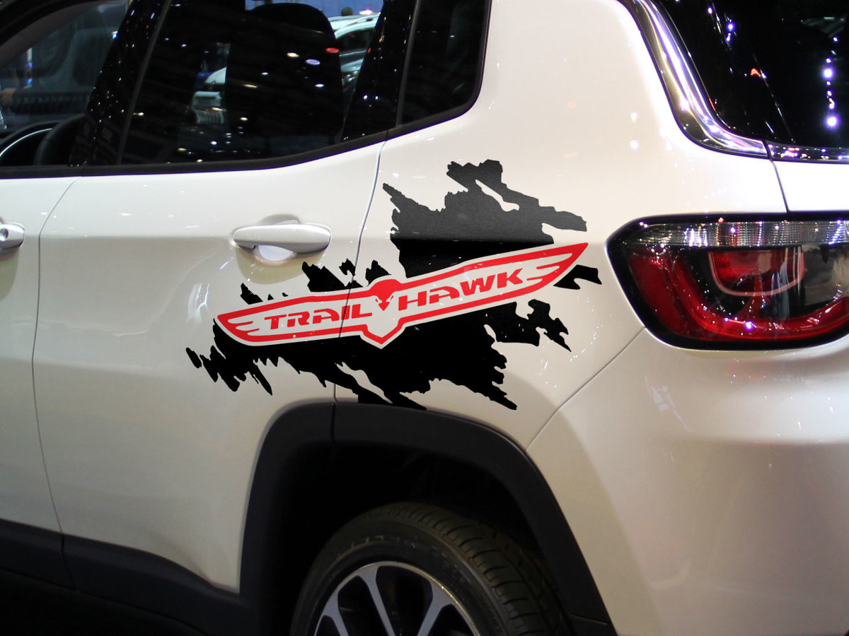 Jeep renegade cherokee trail hawk side splash splatter logo graphic vinyl decal 2 colors