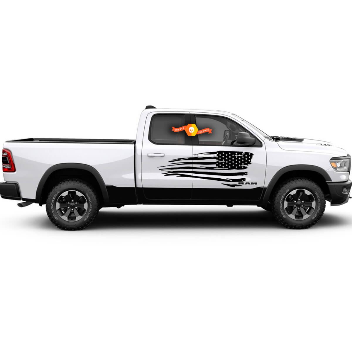 Distressed Flag Graphic Decal Seitenkörper Für jeden Truck Dodge Ram American USA D1