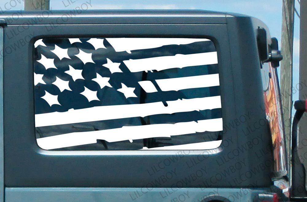 Product Jku Side Window Distressed Usa Flag Vinyl Sticker