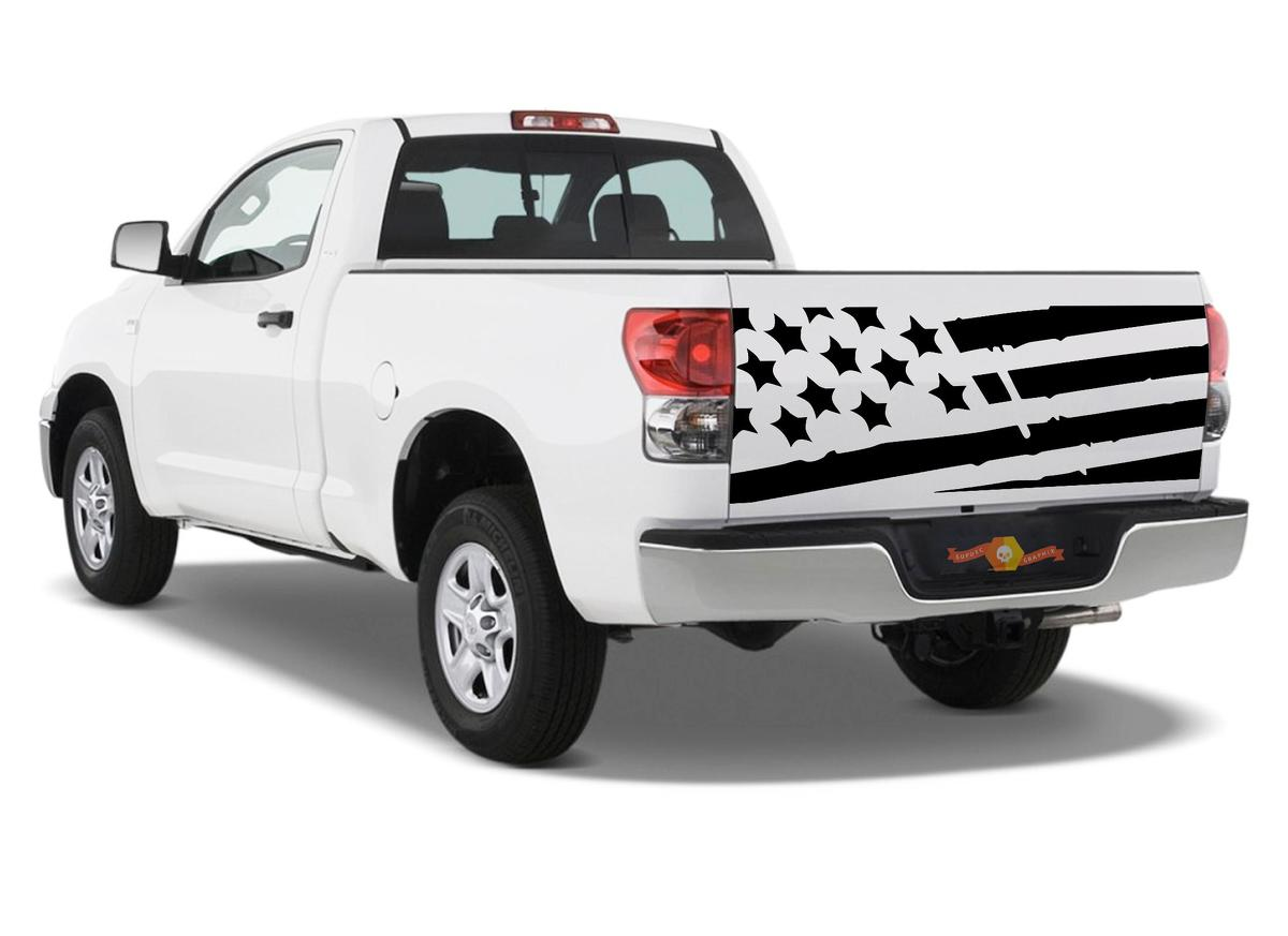 Product: Distressed Tattered tailgate USA Flag Fit Tundra Die-cut Vinyl decal sticker
