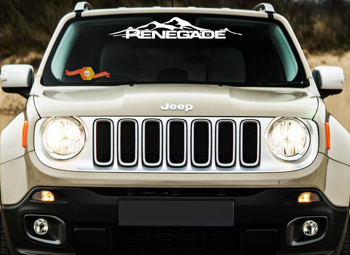Jeep Renegade Mountain Logo Graphic Vinyl Decal Windshield Rear Camo