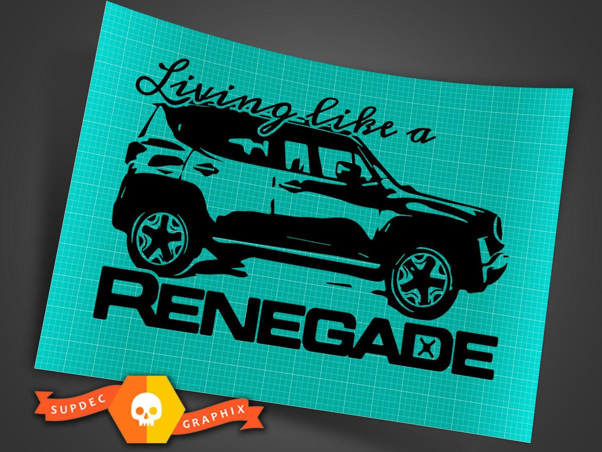 Product: Living Like a Jeep Renegade Logo Graphic Vinyl Decal Sticker Vehicle Rear SUV 1x