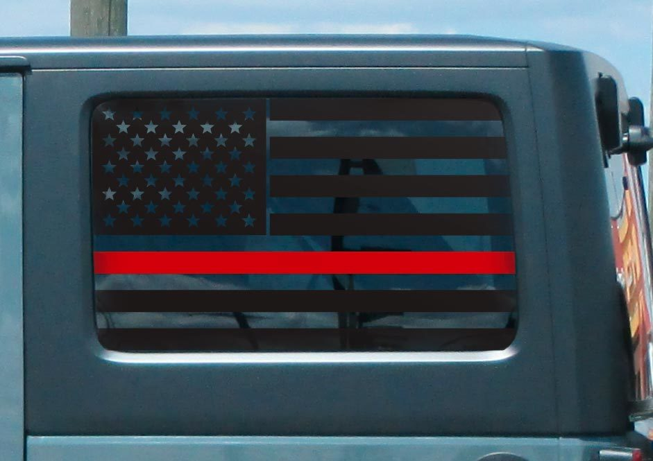 Jeep Hardtop Flag Decal Set -Thin Red Line Fire USA American Wrangler JKU