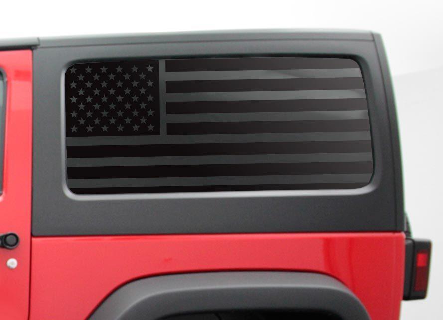 Custom Design QR6-JL2.A USA Flag w// Thin Blue Line Decals For 2007-2020 Jeep Wrangler 2 Door only Hardtop Windows
