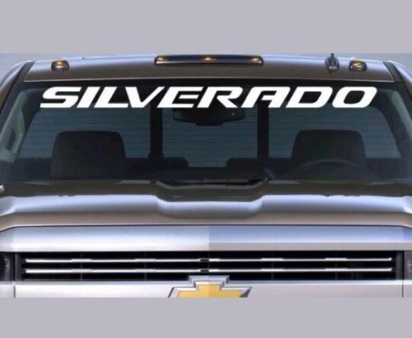 Chevrolet SILVERADO Windschutzscheibe Grafik Vinyl Aufkleber Aufkleber Fahrzeug Logo WEISS