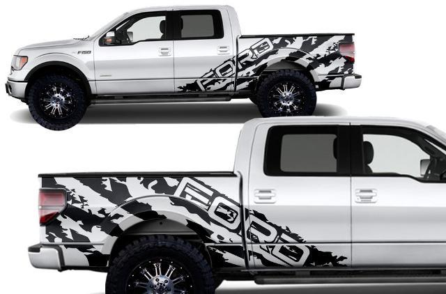 FORD F-150 (2009-2014) SUPERCREW 5.5 BED CUSTOM VINYL DECAL WRAP KIT - FORD SHREDS