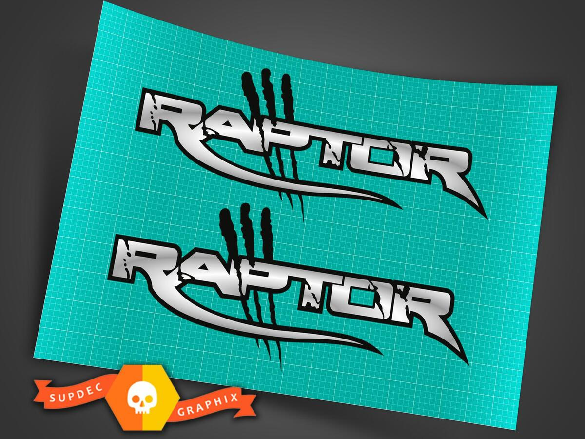 RAPTOR TRUCK VINYL DECALS STICKERS CHROME BRUSHED (SET)