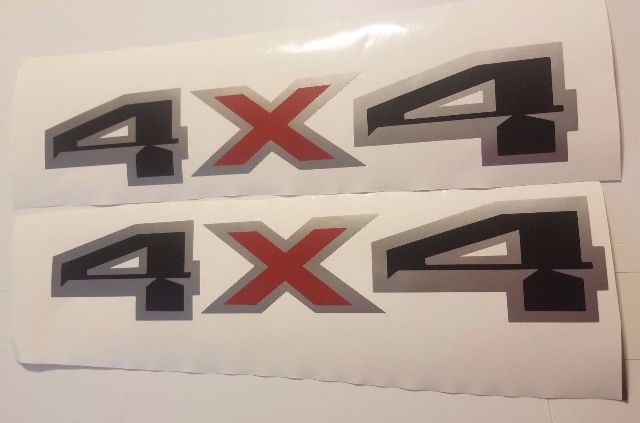 4x4 decal stickers black flat gray and red silverado chevy ford f150 f250 (SET)