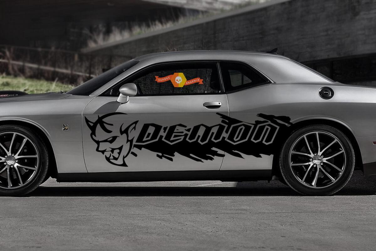 Dodge Demon Challenger SRT Seitenspritzer Logo Auto Mopar Vinyl Grunge Aufkleber Grafik
