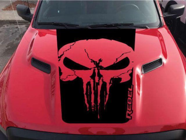 Dodge Ram Rebel Text Punisher Grunge Schädelhaube LKW Vinyl Aufkleber Grafik