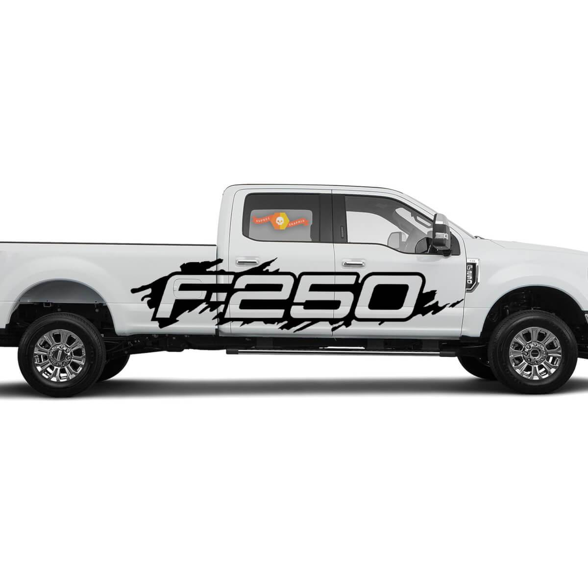 Ford F-250 Side Splash Grunge F250 Vinyl Aufkleber Grafik Pickup Pick Up Bed Truck