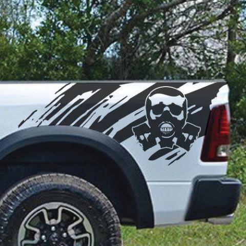 Biohazard Skull Splash Splatter Grunge Pickup LKW Vinyl Aufkleber Bett Graphic Cast