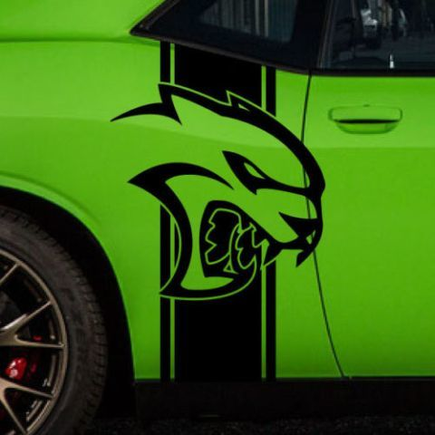Dodge Challenger Hell Cat Seitenstreifen Logo Vinyl Aufkleber Grafik HellCat Chrome