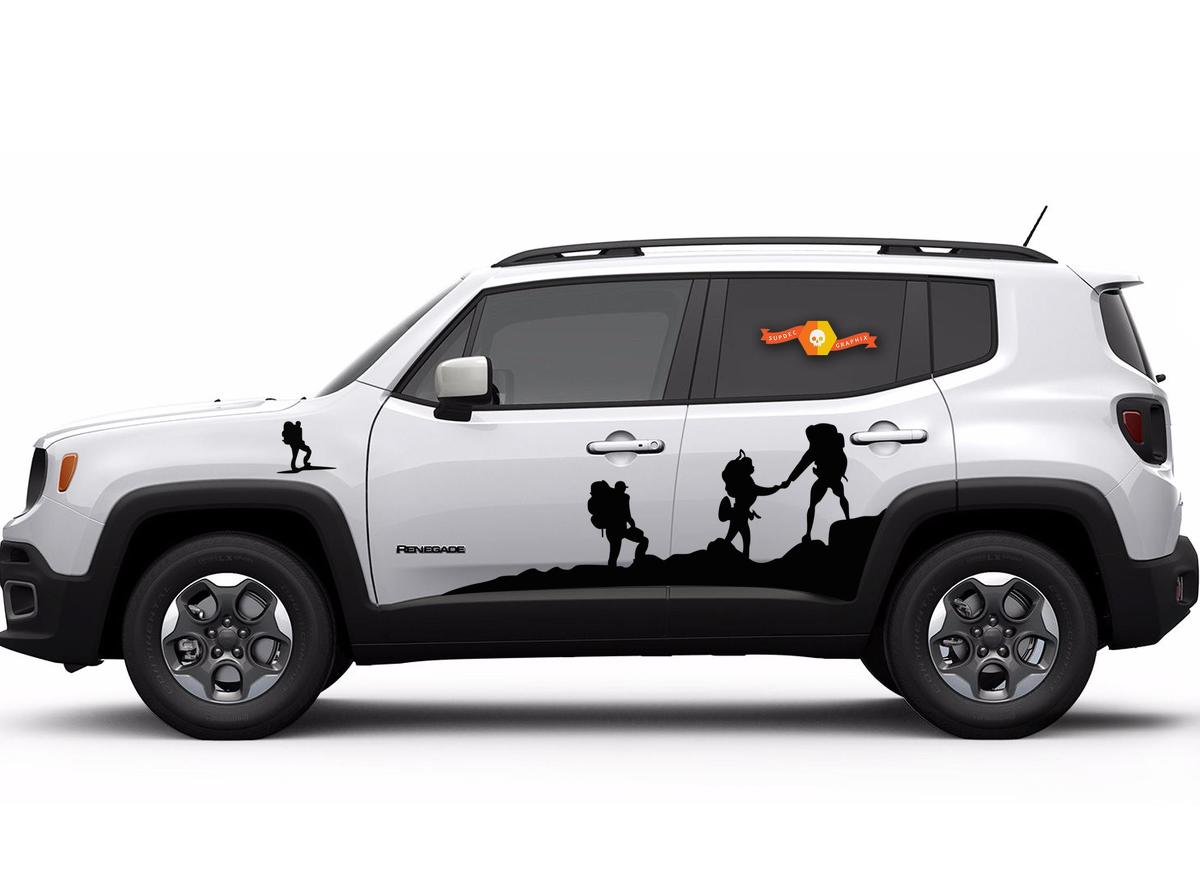 Product vinyl door hood climber car sticker auto side skirt decal for jeep renegade 2 pc