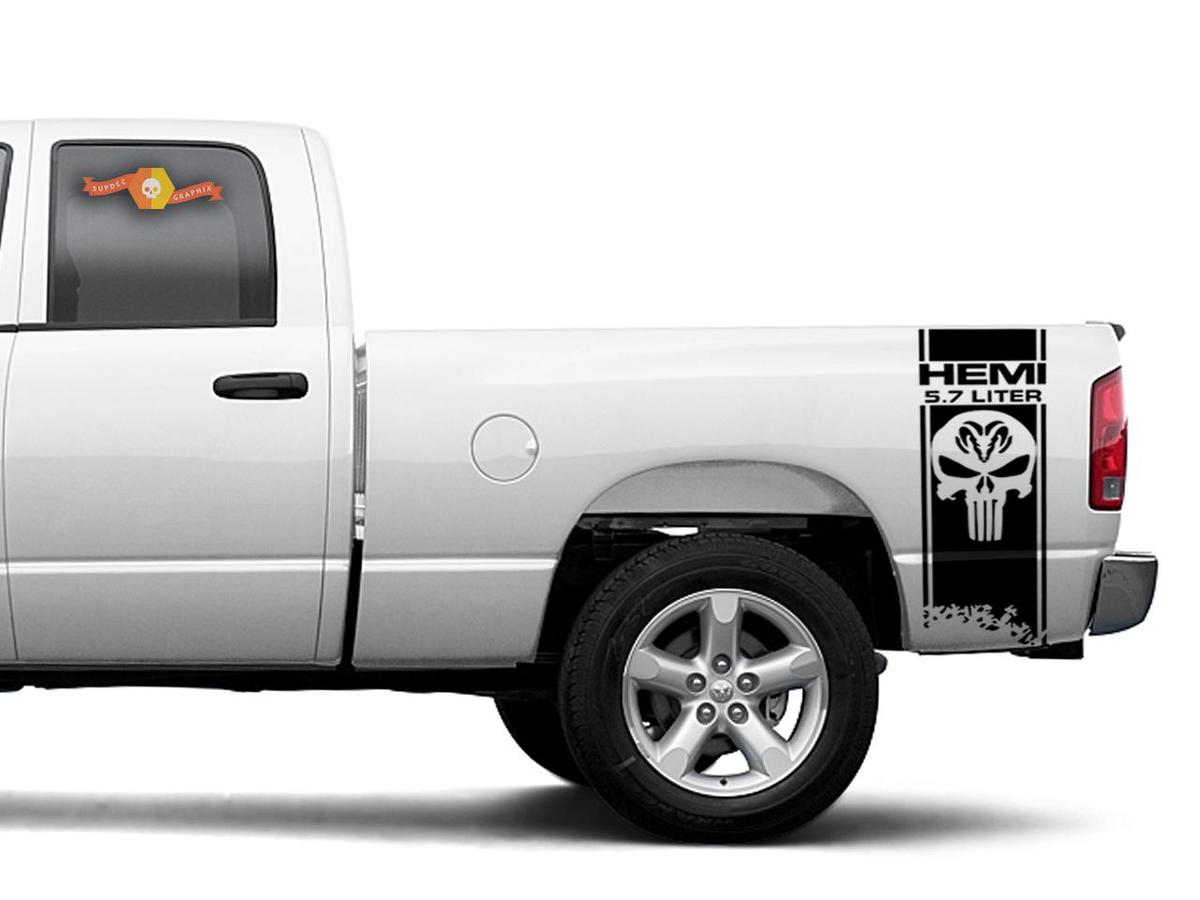 product dodge ram hemi 5 7l 2x decals for ram 1500 2500 3500 vinyl body decals stickers. Black Bedroom Furniture Sets. Home Design Ideas