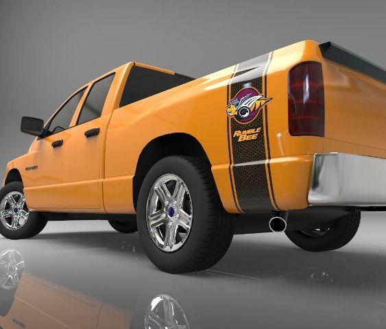 1500 2500 LKW-Ladefläche Seitenstreifen Rumble Bee Ram Dodge Vinyl Aufkleber Honeycomb 021