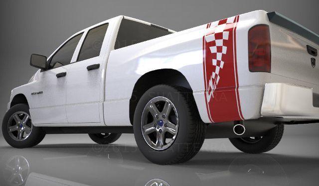 1500 2500 3500 LKW-Ladefläche Seitenstreifen Karierte Flagge Dodge Decal Aufkleber DS016A