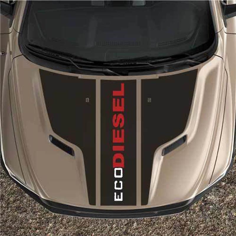 ecoDIESEL Rebel Dodge Ram Sporthaube Black Out Truck Vinyl Aufkleber Grafikstreifen