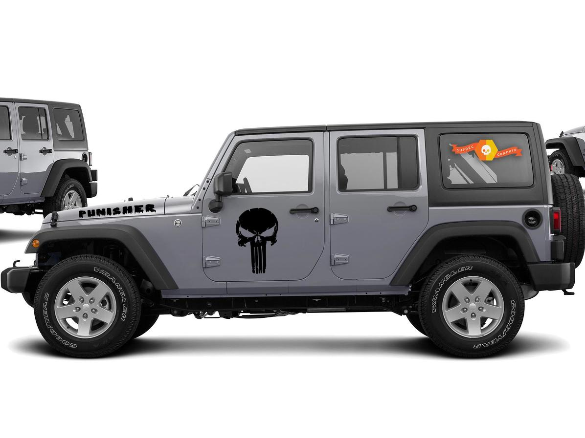 DISTRESSED PUNISHER DECAL For JEEP Wrangler Doors And Hood