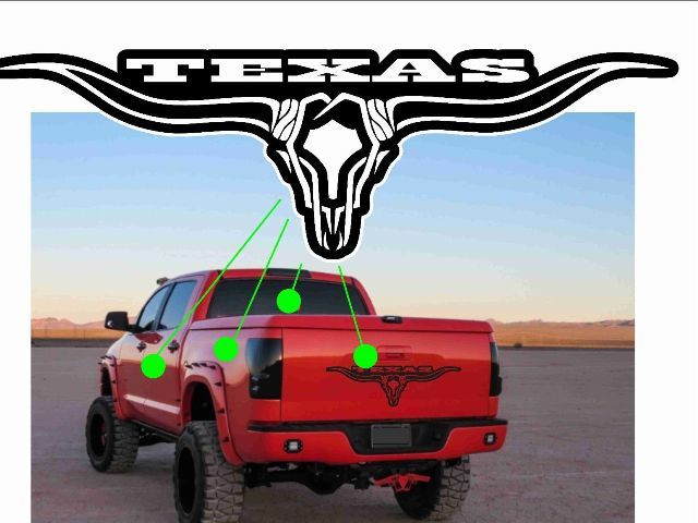 Product skull texas longhorn decal rear window graphic truck stickers tailgate inserts