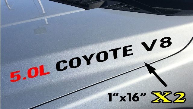 2x 5.0L COYOTE V8 Hood Aufkleber Aufkleber Emblem Ford F150 Boss Mustang