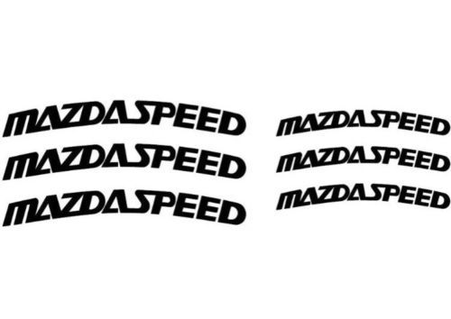 6 X Mazdaspeed Curved Brake Caliper High Temp. Vinyl Decal Stickers (Any Color)