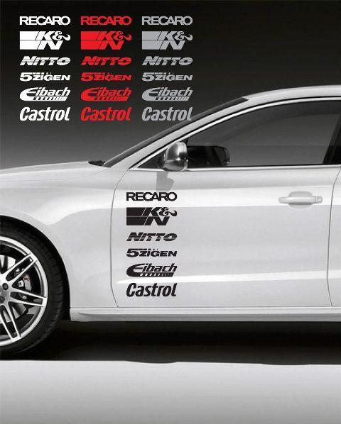 12pcs Racing Sponsors Logo Sport Emblem Decal for Any Car BMW Subaru