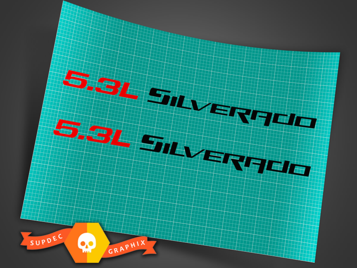 5,3 l SILVERADO (1 Paar) Aufkleber für die Motorhaube für Chevy Silverado 14 1 / 2L X 3 / 4H