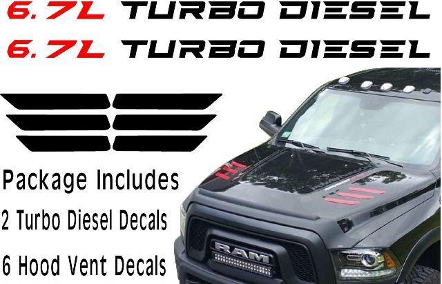 2010-2017 DODGE RAM 2500 & 3500 HD HOOD VENT DECALS 6.7L Turbo Diesel Paket