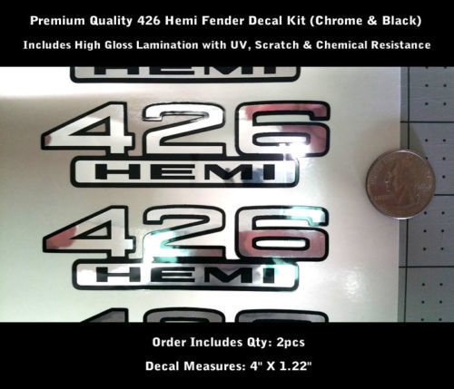 Hemi Decals 426 Chrom & Schwarz Fender Decal Kit 2 Stück Aufkleber UV 0149