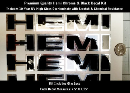 Hemi Truck Hood Scoop Fender Aufkleber Kit 2 Stück Chrom & Schwarz 7,5
