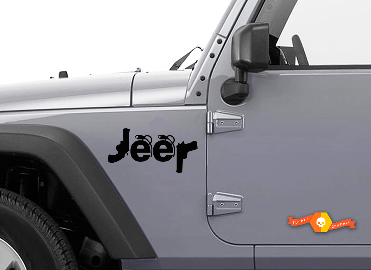 JEEP Decals guns grenades Stickers Set of 2 Wrangler Compass Renegade Cherokee