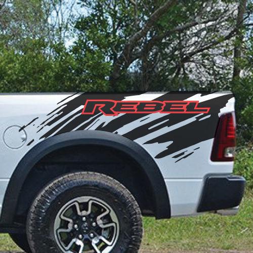 Dodge Ram Rebel Logo Seite Flare Truck Vinyl Aufkleber Grafik Splash Bed Pickup