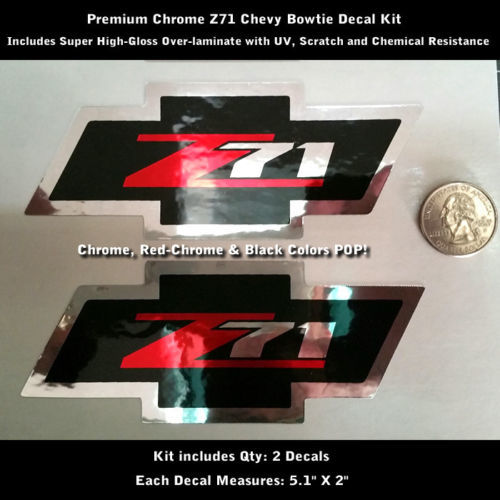 Z71 Chevy Bowtie Aufkleber Aufkleber Kit Paar Chrom Super Hochglanz 0108