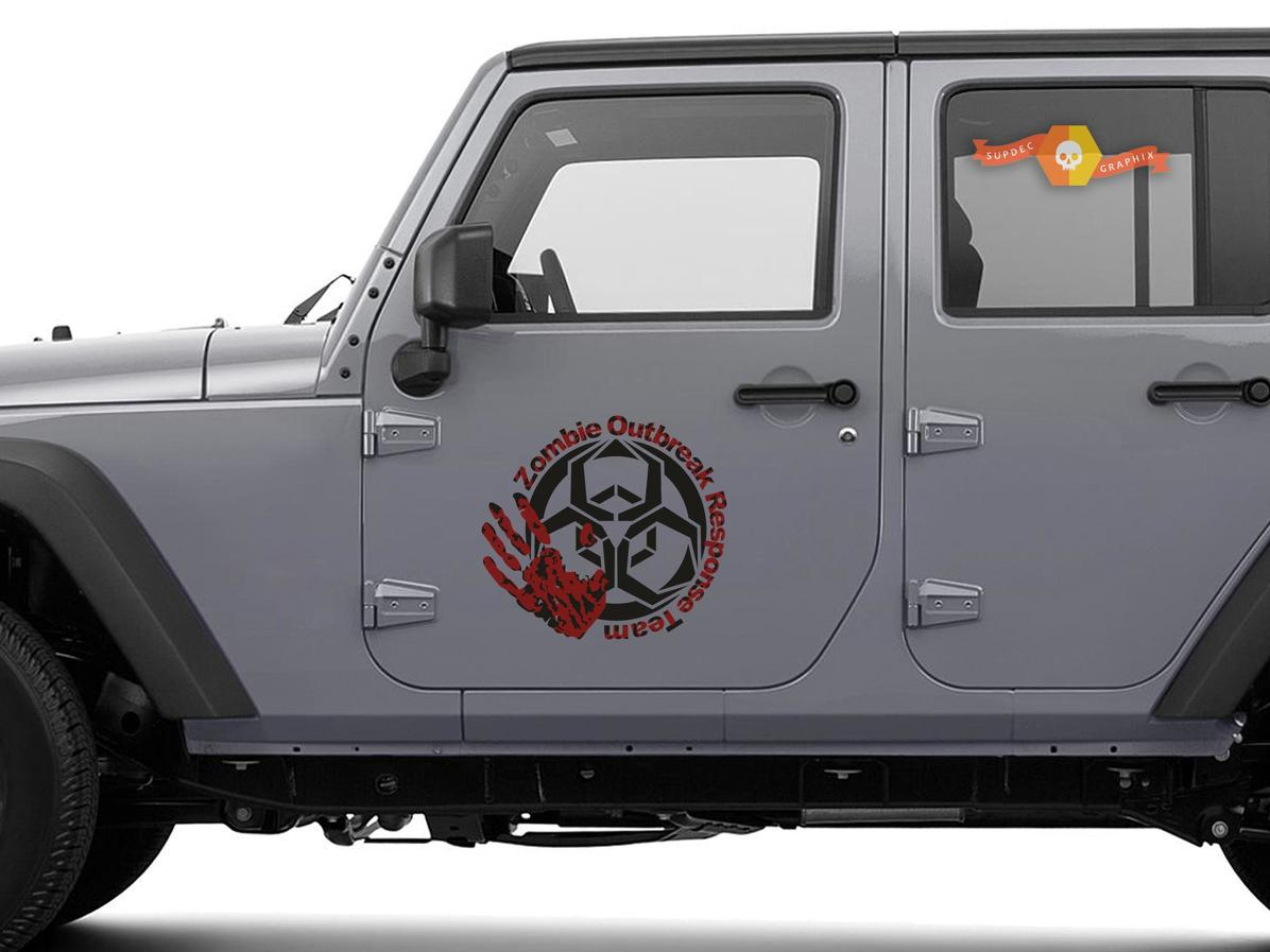 2x Zombie Outbreak Response Team Jeep Motorentür Aufkleber Fahrzeug LKW Auto Vinyl