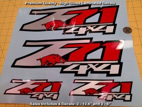 Z71 Aufkleber 4er-Set Arkansas Razorbacks Hochwertiges Finish in Premium-Qualität, SCHÖN