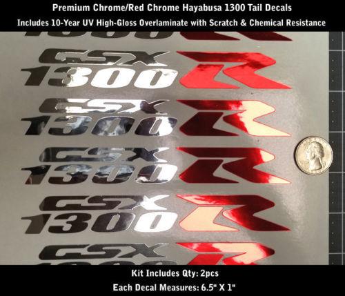 1300 R Decal Kit 2pcs Hayabusa GSXR Chrome & Red Chrome Premium 0168