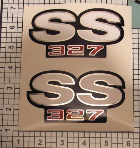 SS Decals 327 Camaro Chrome Red Black White Fender NICE