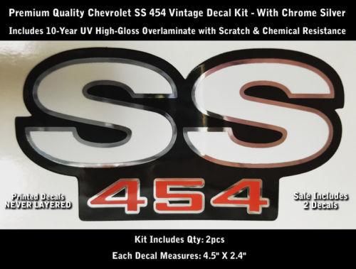SS 454 Decal Kit 2 Stück Camaro Chevrolet Chrome Outlines 4.5