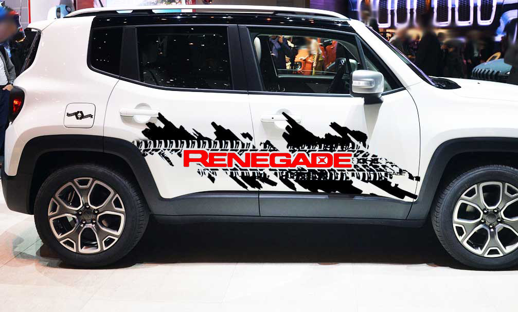 Jeep Renegade Side Splash Tire Tracks Logo Graphic Vinyl Decal Sticker 2 colors