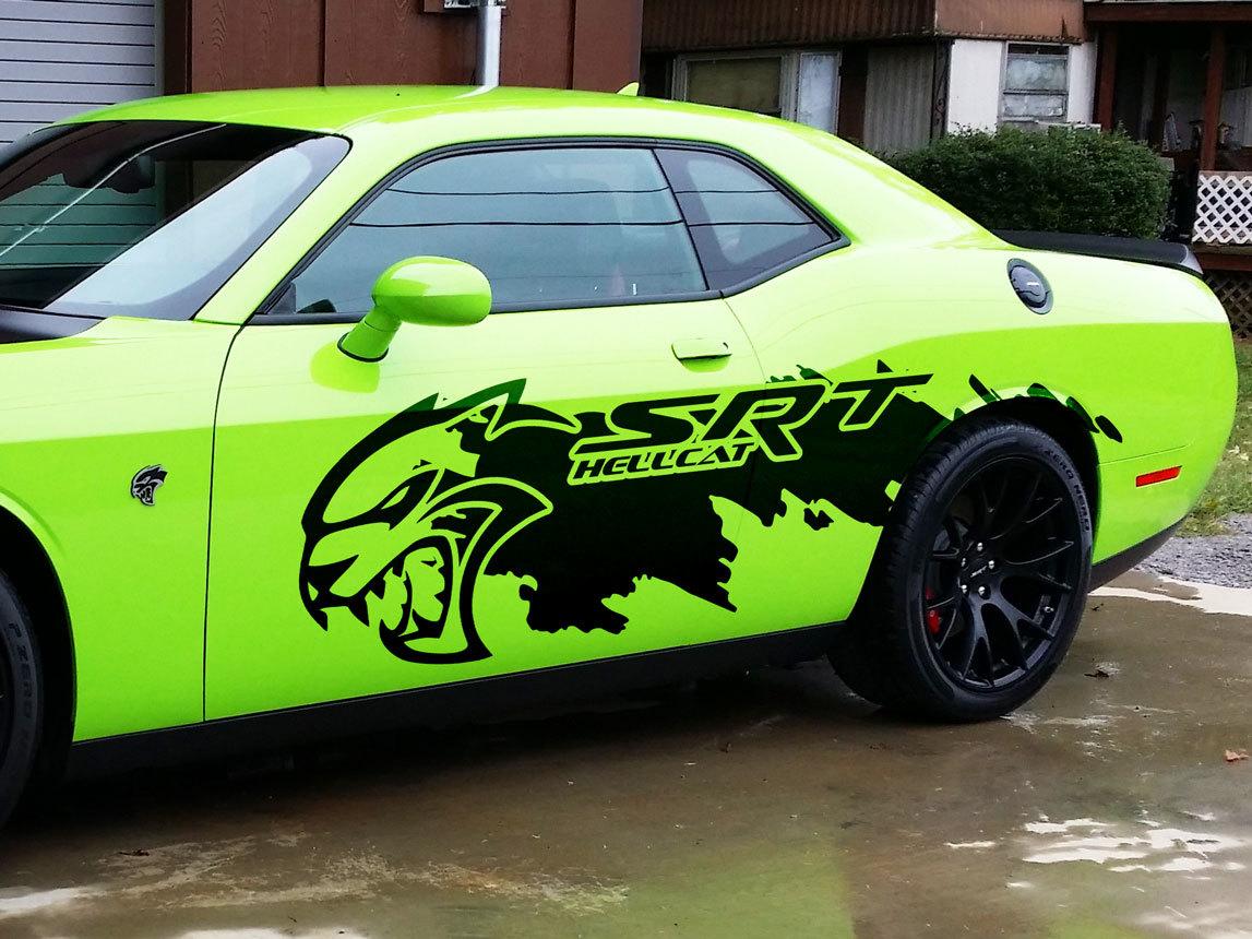 Dodge Challenger Ladegerät SRT Hellcat Splash Grunge Hell Cat Vinyl Aufkleber Grafik riesiger Aufkleber