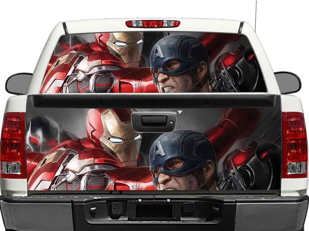 Ironman and Captain America Rear Window OR tailgate Decal Sticker Pick-up Truck SUV Car