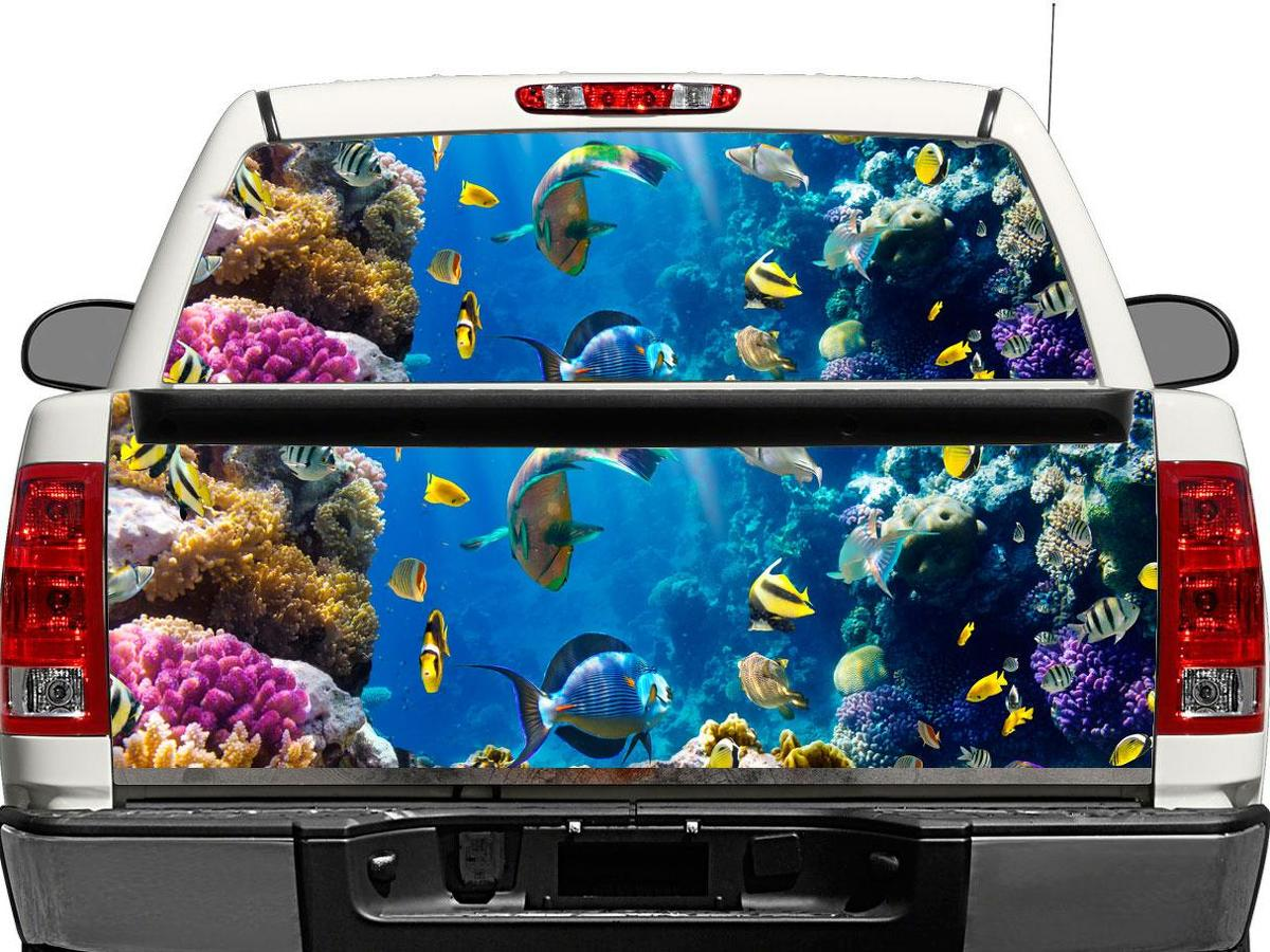 Tropical Fish Underwater sea ocean sealife Rear Window OR tailgate Decal Sticker Pick-up Truck SUV Car