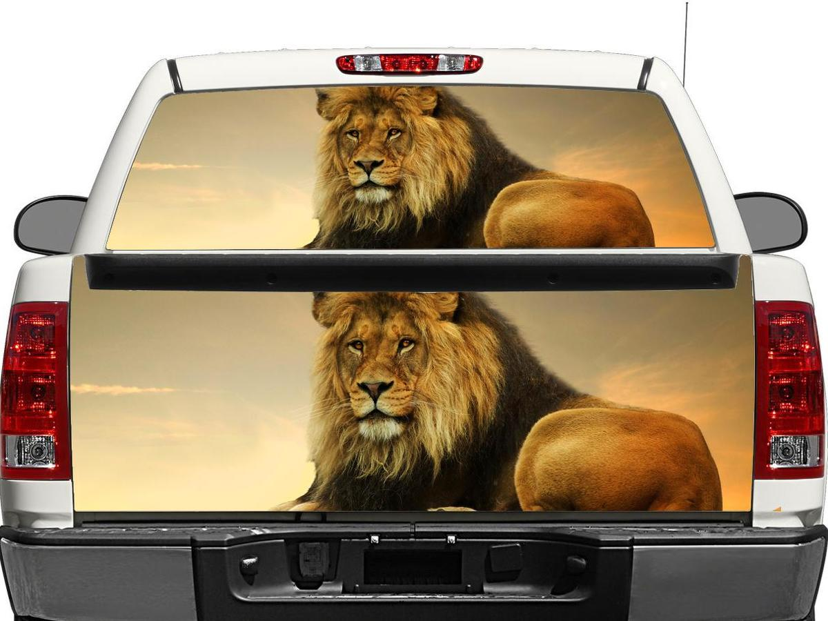 Lion on sunset 2 Rear Window OR tailgate Decal Sticker Pick-up Truck SUV Car